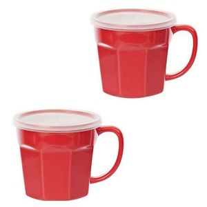Set Of 2 Red Ceramic Covered Coffee Soup Mugs NWT